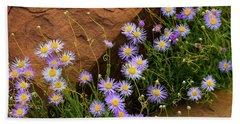 Flowers In The Rocks Beach Sheet by Darren White