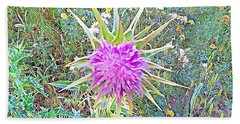 Beach Towel featuring the mixed media Flowers by Lucia Sirna