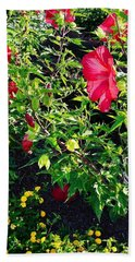 Flowers Of Bethany Beach - Hibiscus And Black-eyed Susams Beach Sheet