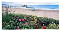 Beach Towel featuring the photograph Flowers Of Manhattan Beach by Art Block Collections