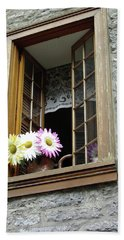 Beach Towel featuring the photograph Flowers On The Sill by John Schneider