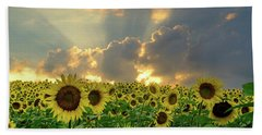 Flowers, Pillars And Rays, His Glory Will Shine Beach Towel