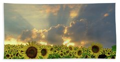 Flowers, Pillars And Rays, His Glory Will Shine Beach Towel by Janice Adomeit