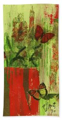 Beach Towel featuring the mixed media Flowers,butteriflies, And Vase by P J Lewis