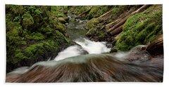 Flowing Downstream Waterfall Art By Kaylyn Franks Beach Towel