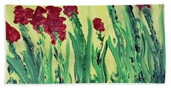 Beach Sheet featuring the painting Flowing Flowers by Karen Nicholson