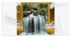 Flowing Waterfall Beach Towel
