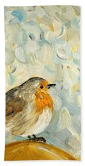 Beach Towel featuring the painting Fluffy Bird In Snow by Maria Langgle