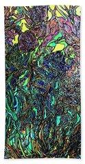 Fluid Irises Beach Towel by Rae Chichilnitsky