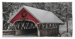 Flume Covered Bridge In Winter Beach Sheet