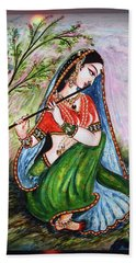 Flute Playing In - Krishna Devotion  Beach Sheet