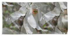 Fluttering Magnolia Petals Beach Towel