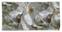 Beach Towel featuring the photograph Fluttering Magnolia Petals by Smilin Eyes  Treasures