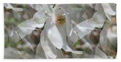Fluttering Magnolia Petals Beach Sheet
