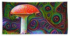 Beach Towel featuring the drawing Fly Agaric Magic Mushroom Deep Dream by Matthias Hauser