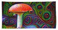 Beach Sheet featuring the drawing Fly Agaric Magic Mushroom Deep Dream by Matthias Hauser