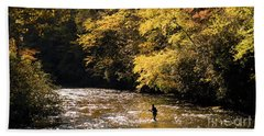 Beach Sheet featuring the photograph Fly Fisherman On The Tellico - D010008 by Daniel Dempster