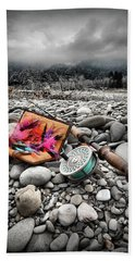 Fly Rod And Streamers Portrait Beach Towel