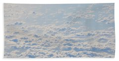 Beach Towel featuring the photograph Flying Among The Clouds by Bill Cannon