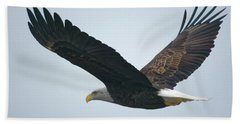 Flying Bald Eagle Beach Towel