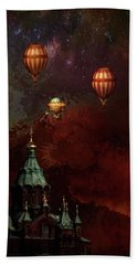 Flying Balloons Over Stockholm Beach Towel