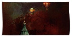 Beach Towel featuring the digital art Flying Balloons Over Stockholm by Jeff Burgess