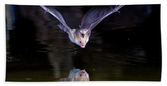 Flying Bat With Reflection Beach Towel