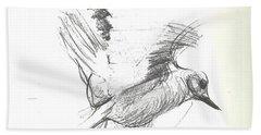 Flying Bird Sketch Beach Towel
