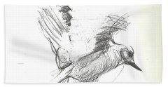 Flying Bird Sketch Beach Towel