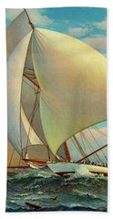 Beach Towel featuring the photograph Flying Defender 1895 by Padre Art