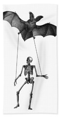Flying Bat With Skeleton On A String Beach Towel
