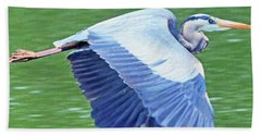 Flying Great Blue Heron Beach Towel