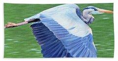 Flying Great Blue Heron Beach Sheet