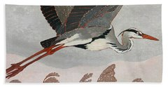 Flying Heron Beach Towel