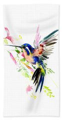 Flying Hummingbird Ltramarine Blue Peach Colors Beach Towel