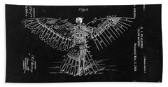 Flying Machine 1889 - Black Beach Towel