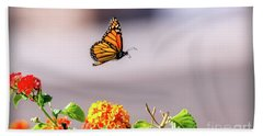 Flying Monarch Butterfly Beach Towel by Robert Bales