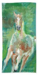 Foal  With Shades Of Green Beach Towel