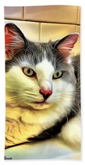 Focused Feline Beach Towel