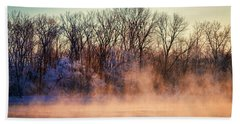Fog And Frost On The Wisconsin River 2017-1 Beach Sheet by Thomas Young