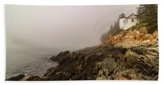 Beach Towel featuring the photograph Fog At Bass Harbor Lighthouse by Jeff Folger