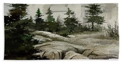 Beach Towel featuring the painting Fog At The Coast by James Williamson