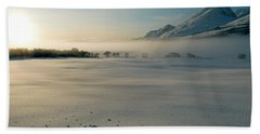 Fog In Lofoten 5 Beach Towel by Dubi Roman