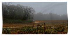 Fog In The Field Beach Sheet by Laura Ragland