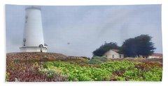 Beach Towel featuring the photograph Fog - Piedras Blancas by Nikolyn McDonald