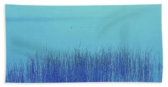 Beach Towel featuring the photograph Fog Reeds by Laurie Stewart