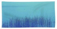 Fog Reeds Beach Sheet by Laurie Stewart
