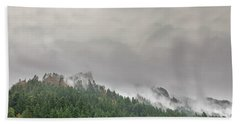 Fog Rolling Over Columbia River Gorge Beach Towel
