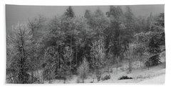 Beach Towel featuring the photograph Fog-shrouded Forest by Alan Vance Ley