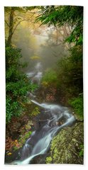 Foggy Autumn Cascades Beach Towel